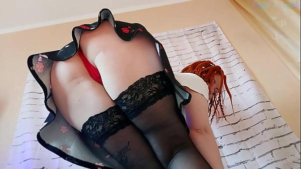 Redhead Dildo Play In Stockings